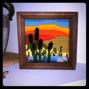 *vintage* handmade yarn art and frame